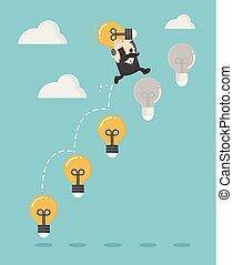 licht, ladder, zakenman, op, bol