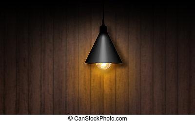 licht, lampe, on., gedreht, zwiebel
