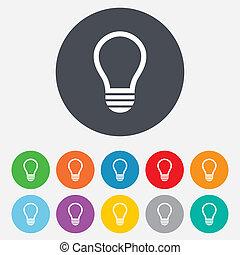 licht idee zeichen lampe icon symbol kreise buttons on licht zeichen idee symbol. Black Bedroom Furniture Sets. Home Design Ideas