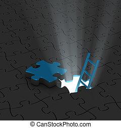 licht, leiter, puzzle