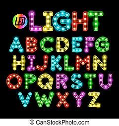licht, lettertype, geleide, lint, strook