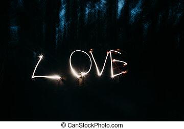 licht, liebe, gemälde, wort