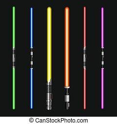 licht, modern, schwerter, dunkel, hintergrund., vektor