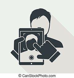 licht, niedrig, tablette, foto