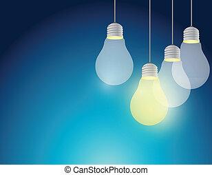 licht, ontwerp, idee, illustratie, bol