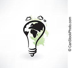licht, pictogram, grunge, aarde, bol