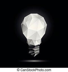 licht, poly, polygonal, glühen, vektor, schwarz, abbildung, hintergrund, model., zwiebel, 3d, niedrig
