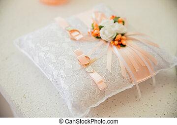 licht, ringe, kissen, gold, wedding
