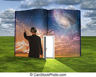 licht, scène, fictie, deuropening, boek, wetenschap, open