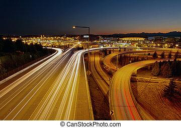 licht, seattle, washington, landstraße, spuren
