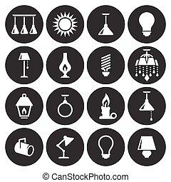 licht, set, iconen