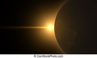 licht, shinning, op, globe