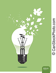 licht, sparen, plant, concept, vector
