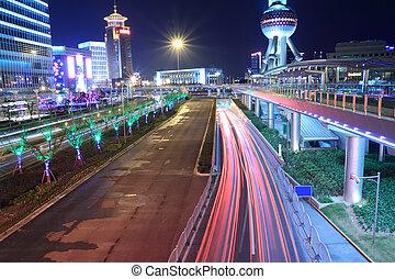 licht, spoor, moderne architectuur, achtergrond, in, shanghai