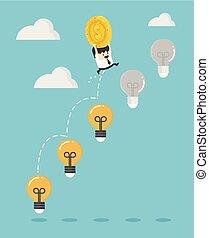 licht, springt, zakenman, vasthouden, bol