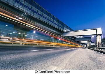 licht, spuren, auf, autobahn, nacht
