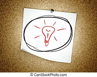 licht, symbool, idee, kurk, aantekening, plank, bol