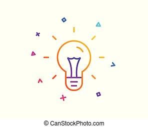 licht, teken., idee, vector, bol, lijn, icon.