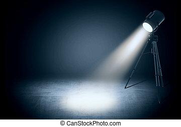 licht, theater, studio, leerer , fleck