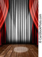 licht, toneel, vlek, verticaal, drapes