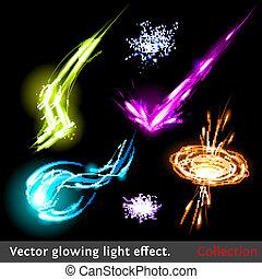 licht, vector, set, effecte