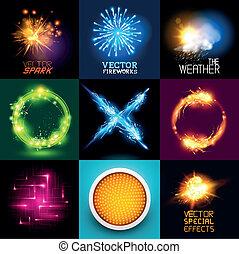 licht, vektor, effekte, sammlung