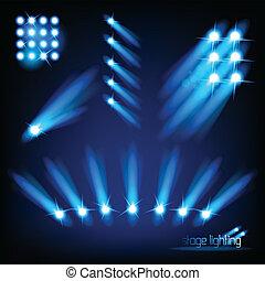 licht, vektor, elemente, buehne