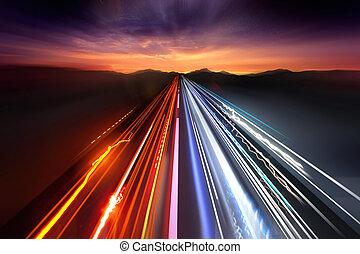 licht, verkehr, schnell, spuren