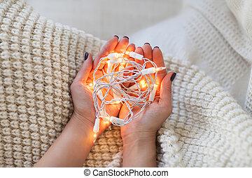 licht, vrouw, kerstmis, holdingshand