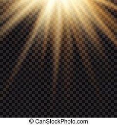 licht, vuurpijl, gele, lens, vector, mal, zon