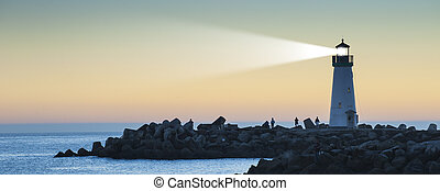 licht, vuurtoren, ondergaande zon , balk