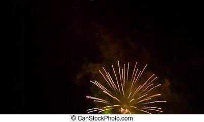licht, vuurwerk, hemel, op, oogverblindend, display