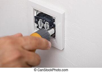 licht, werktuig, elektromonteur, installeren, switch.