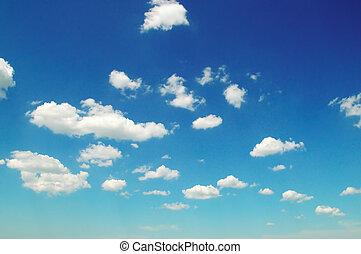licht, wolken, in, de, blauwe , sky.