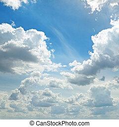 licht, wolkenhimmel, in, der, blauer himmel