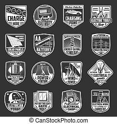 lichte meter, elektrisch, bol, draad, iconen, batterij