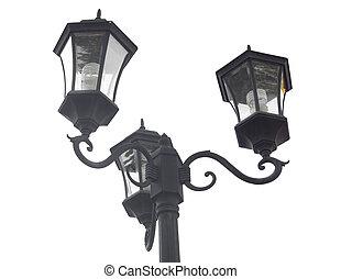 lichte pool, vrijstaand, lamp, straat, post, witte , straat