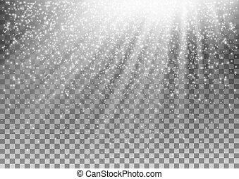 lichteffect, achtergrond., gloeiend, vector, transparant