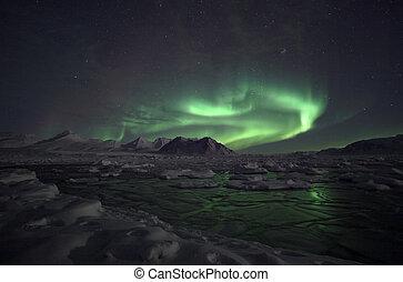 lichten, arctisch, -, noordelijk, svalbard