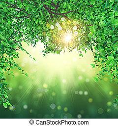 lichten, bladeren, bokeh, achtergrond, 3d