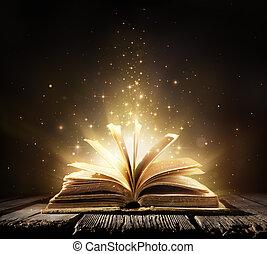 lichten, boek, oud, magisch