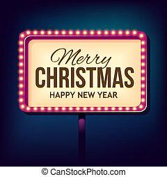 lichten, felicitatie, retro, kerstmis, nacht