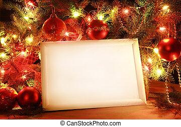 lichten, frame, kerstmis