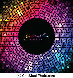 lichten, frame, vector, kleurrijke, disco