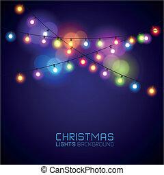 lichten, gloeiend, kleurrijke, kerstmis