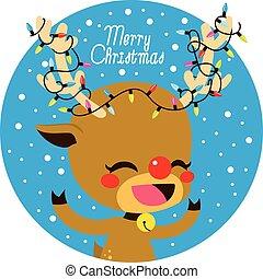 lichten, hertje, kerstmis, vrolijk
