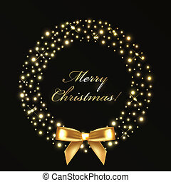 lichten, krans, kerstmis, goud