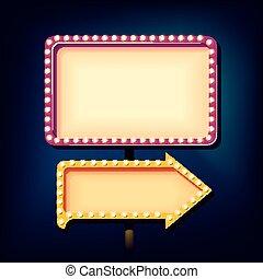 lichten, nacht, retro, meldingsbord