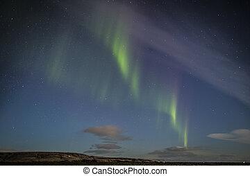 lichten, noordelijk, boven, ijsland