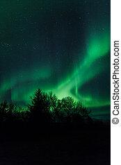 lichten, noordelijk, ijsland